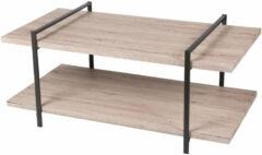 Bruine Gebor Tv-tafel – Tv-meubel – Mediameubel – Veel Ruimte – 2 Verdiepingen – Industrieel – Staal – Zwart – Naturel – 120x63x55cm