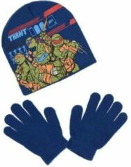 "Teenage Mutant Ninja Turtles - Winterset - Muts & Handschoenen - Model ""Stop Our Enemy Kraang!"" - Donkerblauw - 54 cm"
