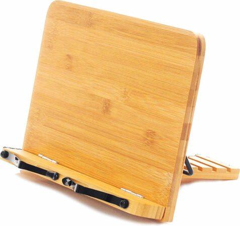 Afbeelding van Bruine Merkloos / Sans marque Premium Bamboe Houten Kookboek Standaard - Boekensteun - Kookboekstandaard - Ipad en tablet standaard - Boekenstandaard - Hout Kook boek standaard - Bamboe