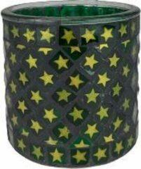 Merkloos / Sans marque Theelichthouder sterretjes EMMA - Groen / Goud - Glas - Ø 10 x h 9.5 cm