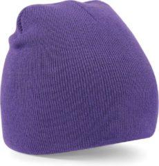 Beechfield Warme gebreide Beanie wintermuts in het paars voor volwassenen - Damesmutsen / herenmutsen - 100% polyacryl - Basic line