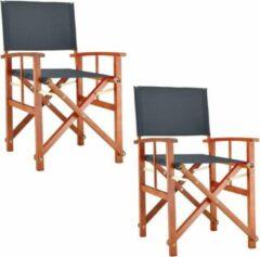 Antraciet-grijze Merkloos / Sans marque Regisseursstoel antraciet, set van 2, klapstoel, vouwstoel, antraciet, duurzaam, eucalyptushout, waterafstotend stof, klapstoel