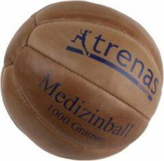 Trenas - Medicijnbal - Medicine bal - Klassische professionele medicijnbal - Leer - 1 kg - Bruin