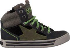 Kaki Braqeez Dylan Day hoge leren sneakers zwart/groen