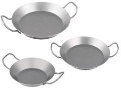 Zilveren CHG Set Ijzeren Pannen 3 stuks