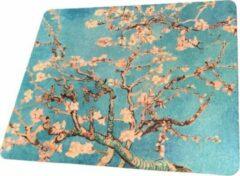 Turquoise FineGoods Muismat van gogh - almond blossom - amandelbloesem - muismatten - 18 x 22 cm - mouse pad - mousepad - wit - blauw