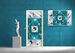 Fotobehangart Deursticker Muursticker Abstract | Turquoise | 91x211cm