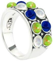 Symbols 9SY 0065 58 Zilveren Ring - Maat 58 - Turkoois - Lapis Lazuli - Parel - Blauw - Groen - Wit - Geoxideerd