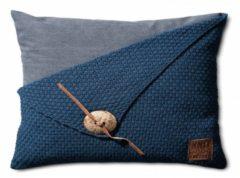 Donkerblauwe Knit Factory Knitfactory Gerstekorrel - Sierkussen - 40x60 cm - Jeans