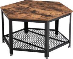 Donkerbruine VASAGLE Vintage salontafel, salontafel, salontafel, voor woonkamer of kantoor, stabiel, met metalen frame en rasterplank, zeshoekig, houtlook