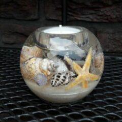 Herinnering in Glas Glasobject Waxinelicht Beach Waxinelichthouder 9x9x7,5 cm