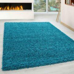 Donkerblauwe Modica Tappeto Hoogpolig vloerkleed Candy Shaggy Turquoise 200x290cm