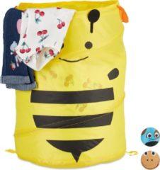 Gele Relaxdays wasmand pop up - opbergmand kinderen - speelgoedmand - mand - opvouwbaar - dier bij