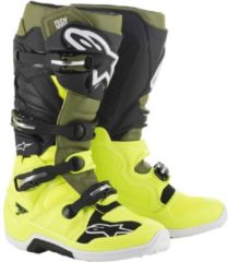 Groene Alpinestars Crosslaarzen Tech 7 Fluor Yellow/Military Green/Black-44.5 (EU)