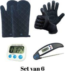 Witte Gohh® Set van 2 BBQ Handschoenen (Kevlar-Aramide), 2 Canvas Ovenwanten, 1 Zwarte Inklapbare Kookthermometer en 1 Digitale Kookwekker