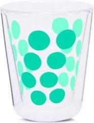 Blauwe Zak!designs Koffieglas Dot Dot Dubbelwandig 200 Ml Glas Aqua