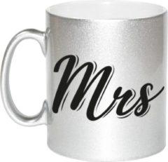 Bellatio Decorations Zilveren Mrs cadeau mok / beker - 330 ml - keramiek - koffiemokken / theebekers