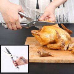 Zilveren Decopatent® Professionele Vleesschaar - RVS - Keukenschaar Kip - Vlees - Gevogelte- Vis - Wild - Kruiden schaar - Links & Rechts
