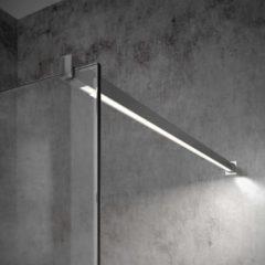 Inloopdouche Bellezza Bagno StabiLight 120x195cm 8 mm Helder Glas Antikalk Inclusief Stabilisatiestang Met Verlichting Chroom