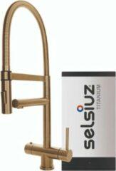 Selsiuz Inox XL kokend water kraan met titanium single boiler gold