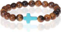 Turquoise Memphis kralen armband Tigereye Cross