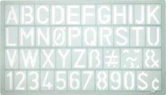 Sjabloon Westcott cijfers en letters 20mm hoog. 190X90mm, transparant sjabloon.