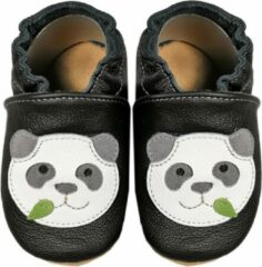 Hobea Babyslofjes zwart met panda (Loop)