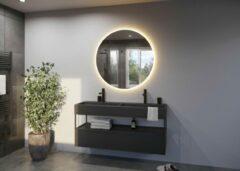 Zilveren Glaskoning.nl Spiegel met LED verlichting   ø80 cm   AURA
