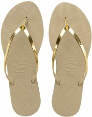 Grijze Havaianas You Metallic Dames Slippers - Sand Grey/L. Golden - Maat 39/40