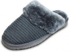 Schapenvachten Online Wollen instap pantoffels dames gevoerd met lamswol maat 41 kleur antraciet grijs met grijze binnenkant