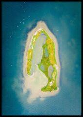 Blauwe Wallll Poster Drone Kraaijenbergse plassen- 30x40cm met Fotolijst – Natuur Poster – Ingelijst