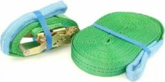 BCF-products Slackline-set smal L, 35 mm, lengte 15 m totaal (13+2 m), groen