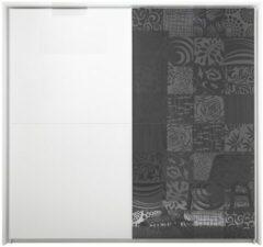 Antraciet-grijze Pesaro Mobilia Schuifdeurkast Perez 220 cm breed in mat wit met hoogglans antraciet