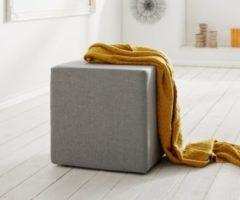 DeLife Sitzhocker Dado Grau 45x45 cm Sitzwürfel Hocker