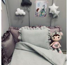 My Sweet Baby Dolly Beddengoedset met Vulling Wafel Grijs-Roze - Baby Dekbed - Kinderdekbed