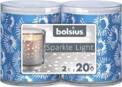 Koraalrode Bolsius 6 st Sparkle light flowpack star kaars 64/52 Coral cobalt