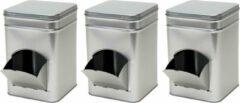 Merkloos / Sans marque 3x Zilveren vierkante opbergblikken/bewaarblikken met dispenser 21 cm - Zilveren koffiecups/suikerklontjes voorraadblikken - Voorraadbussen met dispenser