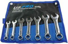 "US.PRO Tools by Bergen Ringsteeksleutelset stubby (korte uitvoering) SAE Engelse maten 3/8"" tot 3/4"" 7-delig"