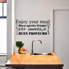 Merkloos / Sans marque Muursticker Eet Smakelijk In Verschillende Talen - Donkergrijs - 160 x 70 cm - engelse teksten keuken nederlandse teksten - Muursticker4Sale