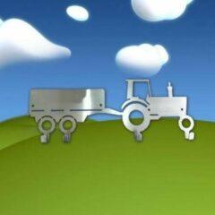 Roestvrijstalen Designkapstokjes.nl Designkapstokje Tractor met kar - Aanbieding - Kapstok RVS - Trekker - Sint cadeau - kerst cadeau - RVS - Kapstok - kraamcadeau - duurzaam