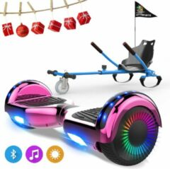Evercross 6.5 inch Hoverboard met Flits Wielen, Elektrische Zelfbalancerende Scooter + TAOTAO moederbord,Bluetooth Speaker,LED verlichting - Roze Chroom + Hoverkart Blauw