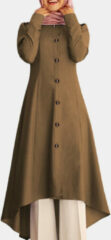 Blauwe ZANZEA Solid Color Curved Casual Muslim Dress
