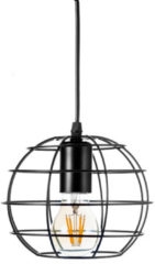 Saniclass Njoy draadlamp Brussel 15x18cm met bol inclusief LED 4 watt zwart SD-2020-01