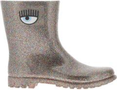 Rosa CHIARA FERRAGNI Stivale Rain Boots Slip On Flirting In Gomma Glitter