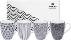 Witte Tokyo Design Studio - Nippon Black - Set van 4 Mokken 380 ml - Verpakt in Luxe Geschenkdoos