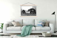 TextilePosters Een gedetailleerde illustratie van baby olifanten schoolplaat platte latten blank 120x90 cm - Foto print op textielposter (wanddecoratie woonkamer/slaapkamer)