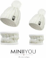 MINIIYOU Matching ouder kind (6-36 mnd) BB WIT winter muts beanie colsjaal pompom met voering | ouder en kind matching | moeder dochter matching muts colsjaal pompom | Vader zoon matching muts pompom
