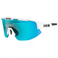 BLIZ - Matrix - Shiny White Frame // Smoke With Blue Multi Lens