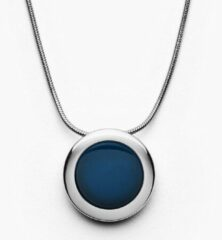 Skagen SKJ1194040 Ketting Sea Glass Cobalt Circle staal-glas zilverkleurig-blauw 40-45 cm