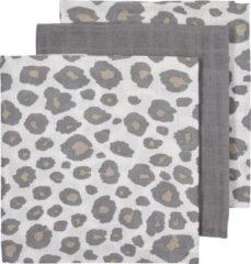 Meyco 3-pack luiers - Panter neutral-Uni grijs-Panter neutral
